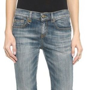 R13 Relaxed Skinny Cinch Ankle Italian Jeans Blue